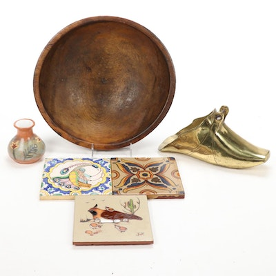 Wood Dough Bowl, Brass Persian Stirrup and Ateco Ceramic Tiles