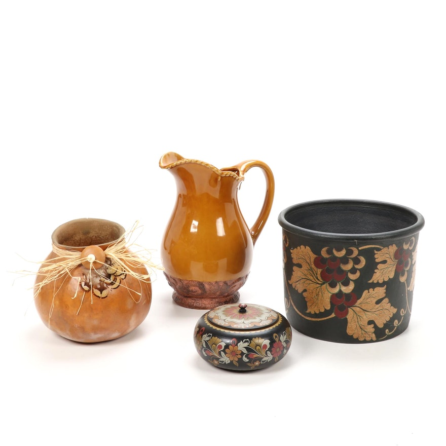 Contemporary Decorative Vessels in Ceramic, Gourd and Wood