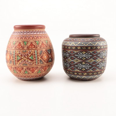 Philippine Hand-Painted Earthenware Pottery Vases