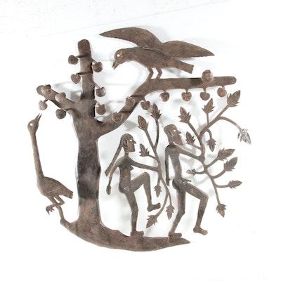 Gabriel Bien-Aime Haitian Metal Sculpture of Adam and Eve