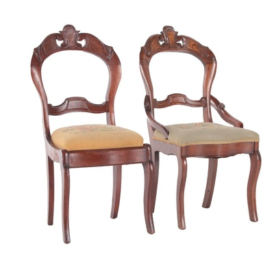 Victorian Walnut Upholstered Parlor Chairs, Late 19th Century
