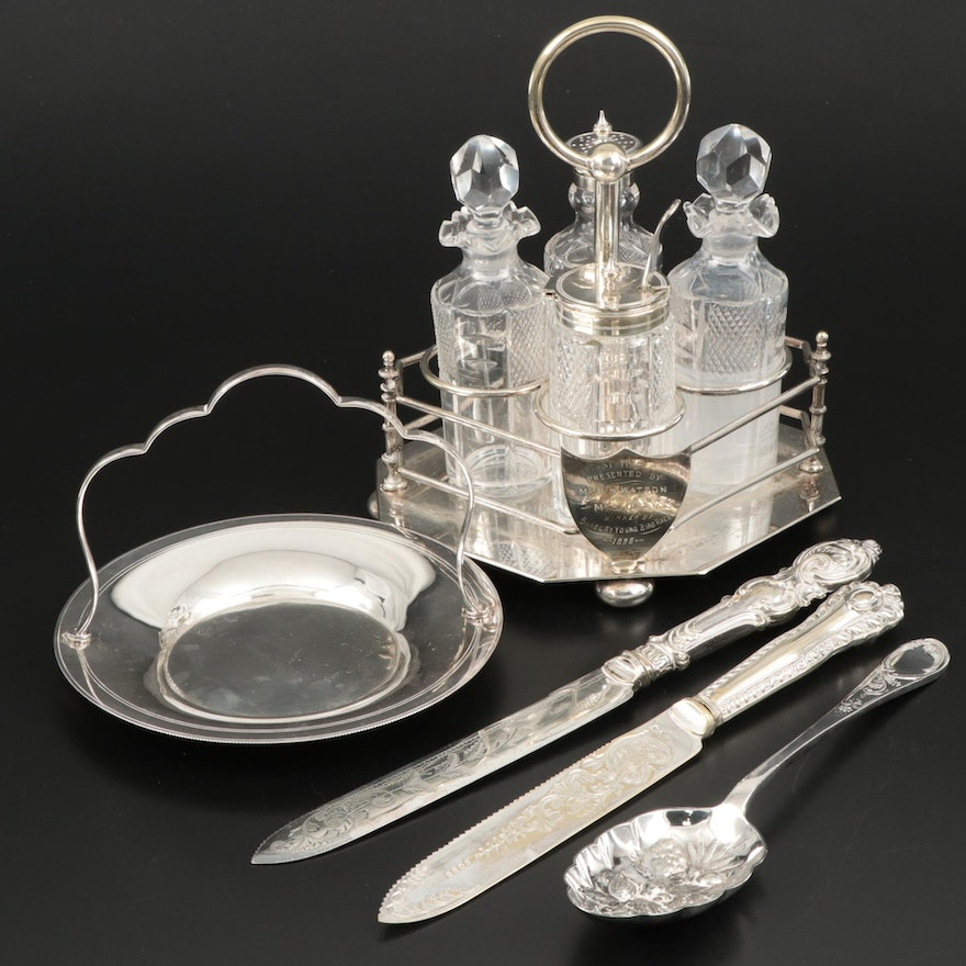 English Silver Plate Condiment Caddy, Dish, Carving Knives and Serving Spoon