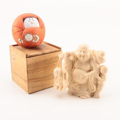 Budai Figurine with Cloth-Swaddled Daruma Doll