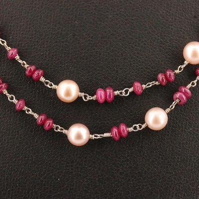 Pearl and Ruby Necklace with 14K Clasp