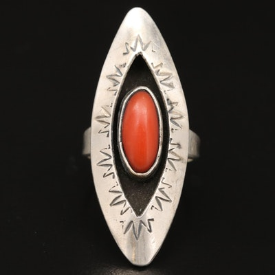 Western Sterling Coral Shadowbox and Stampwork Navette Ring
