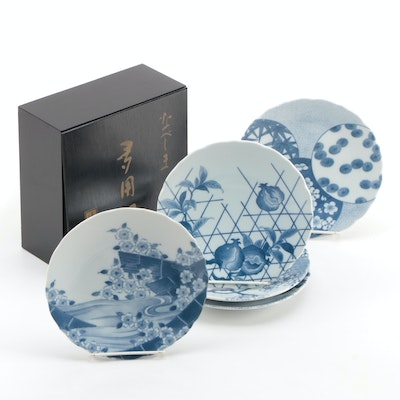 Japanese Blue and White Porcelain Salad Plates with Presentation Box