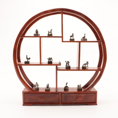 Chinese Zodiac Metal Figurines with Wooden Display