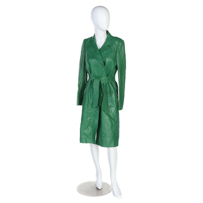 Chanel Double-Breasted Trench Coat in Green Lambskin