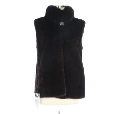 Mahogany Mink Fur Vest with Dyed Fox Fur Collar
