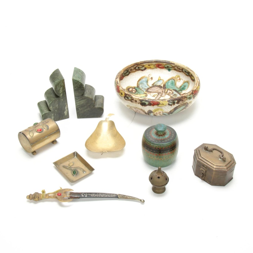 Ceramic Bowl with Decorative Metal Boxes, Stone Bookends, and Other Decor