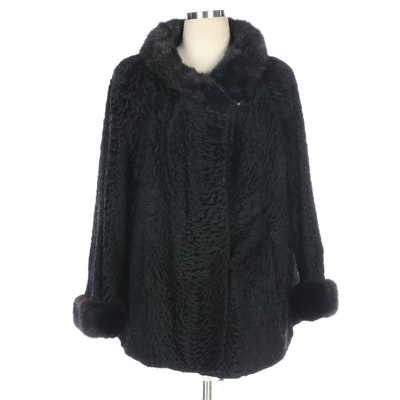 Black Broadtail Lamb Fur Jacket with Dyed Mink Fur Trim, Vintage