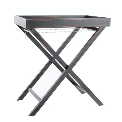 Ebonized Wood Tray Top Folding Table