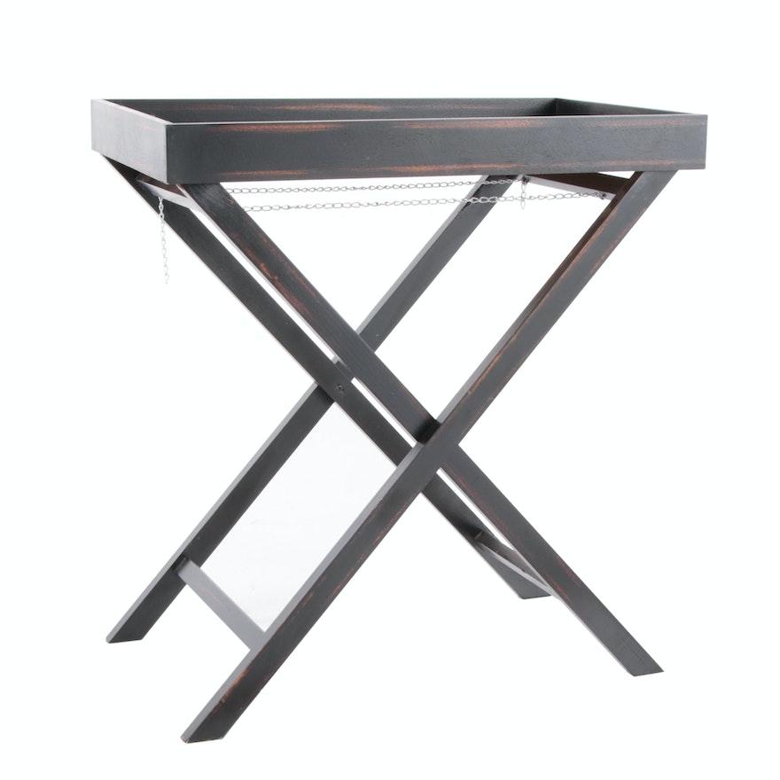 Ebonized Wood Tray Top Folding Table