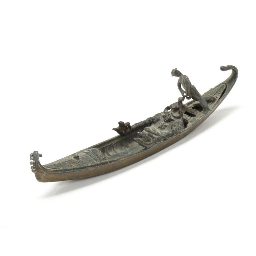Bronze Gondola with Figure