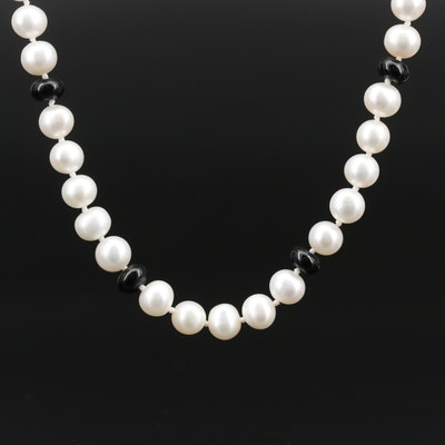 Hand Knotted Pearl and Black Onyx Endless Necklace