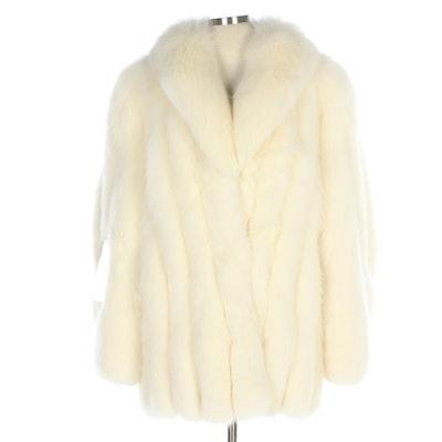 White Shadow Fox Jacket with Shawl Collar