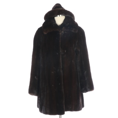 Evans Mink Fur Stroller Coat with Mink Fur Hat, Vintage