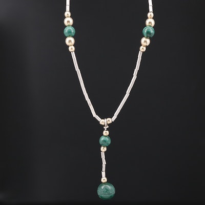 Sterling Silver Malachite Y-Necklace