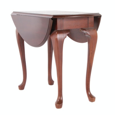 Queen Anne Style Cherry Pembroke Center Table, Late 20th Century