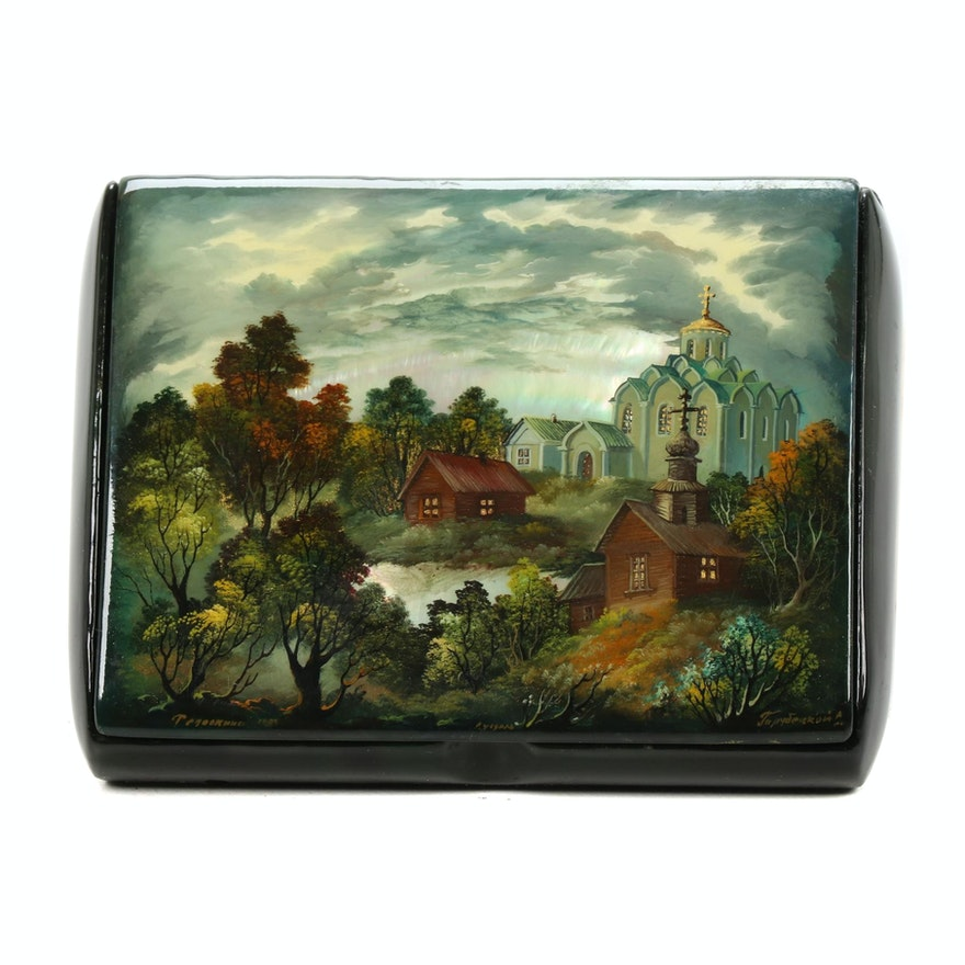 Russian Hand-Painted Trinket Box with Abalone