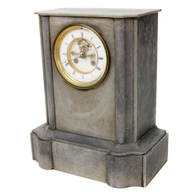 L. Marti French Slate Mantle Clock, Antique