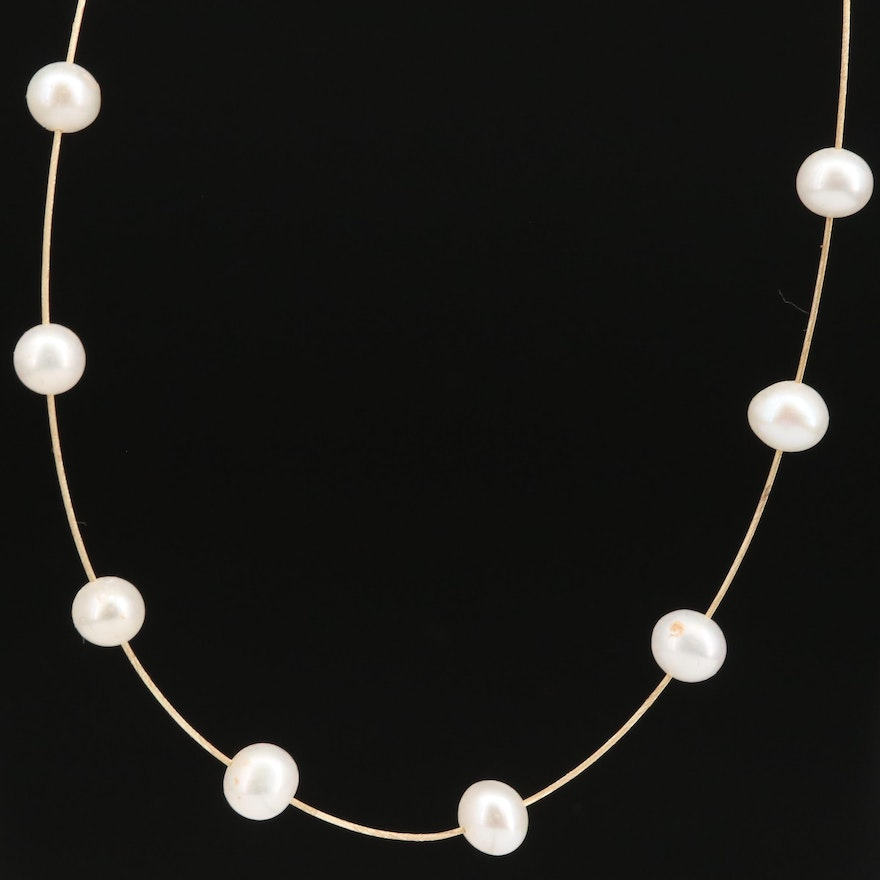 Pearl Station Necklace with 14K Clasp
