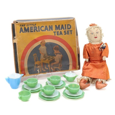 Akro Agate Jadeite, Opal, and Azure Glass Play Tea Set with Doll, 1930s