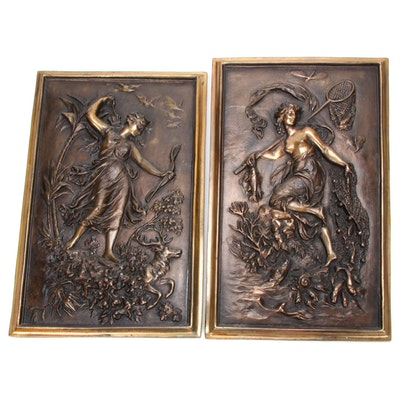Bronze Figural Relief Huntress Wall Panels