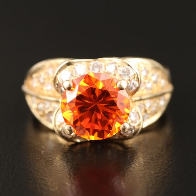 14K Cubic Zirconia and Diamond Ring