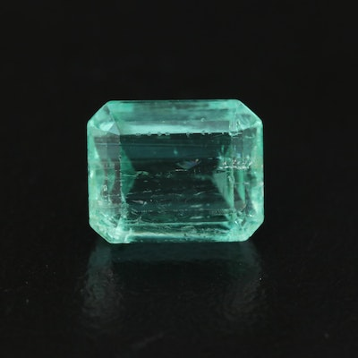 Loose 3.20 CT Cut Corner Rectangular Faceted Emerald