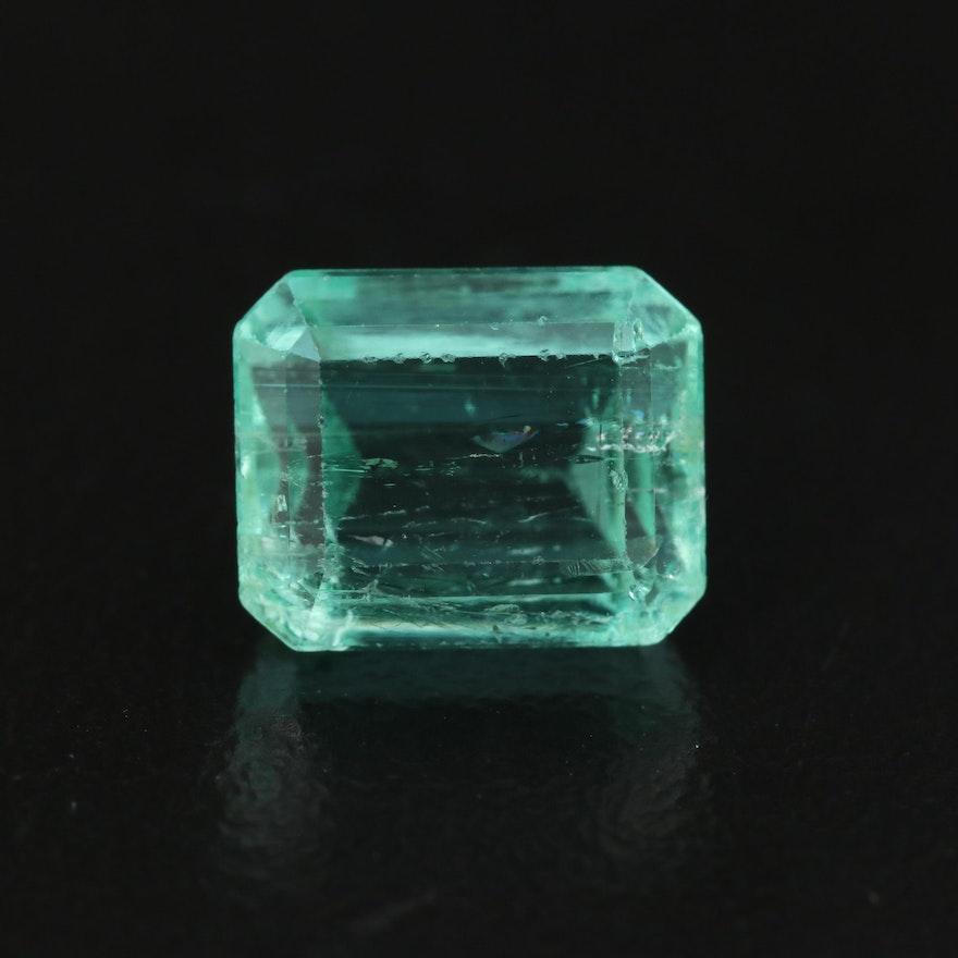 Loose 3.20 CT Cut Corner Rectangular Faceted Emerald