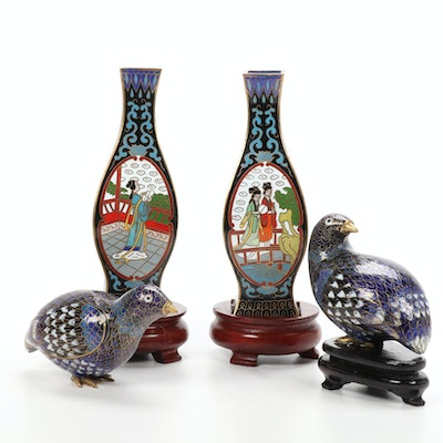 Chinese Cloisonné Bud Vases and Bird Figurines, Mid to Late 20th Century