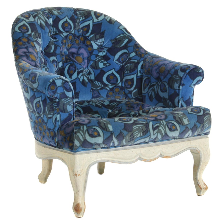 French Style Armchair with Button Tufted Plush Upholstery, Late 20th Century