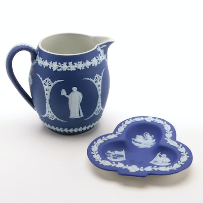 Wedgwood Dark Blue Jasperware Milk Jug and Clover Club Shaped Ashtray