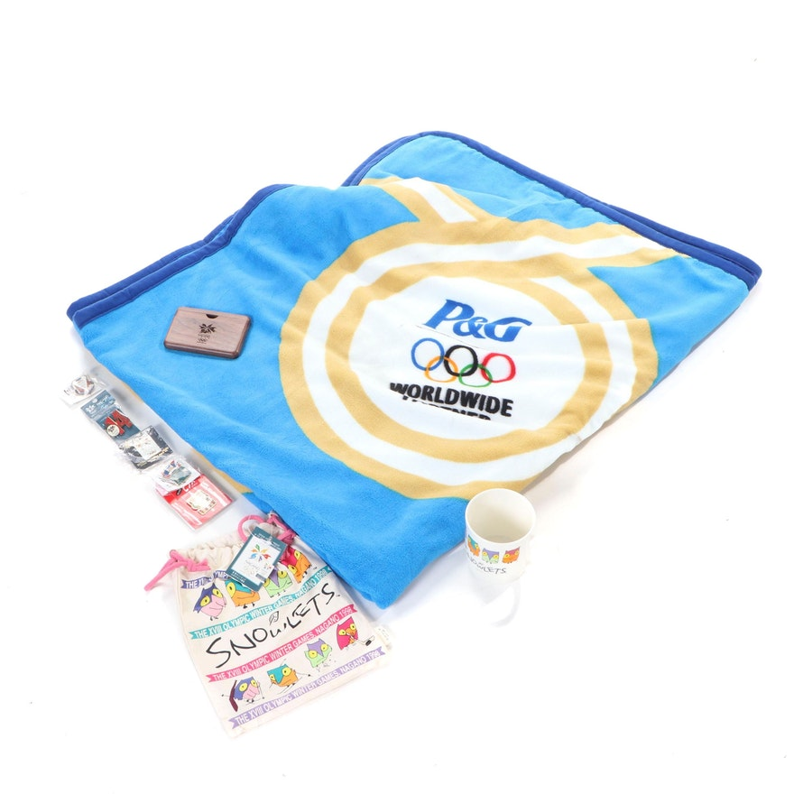 Official Xviii Nagano Winter Olympics Souvenirs With P G Olympic Blanket Ebth