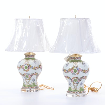 Pair of French Vase Style Table Lamps with Fabric Del Sol Lampshades