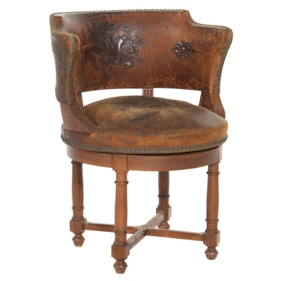 Walnut Swivel Chair with Embossed Leather Upholstery, Early 20th Century