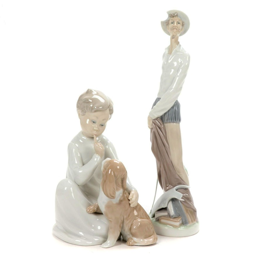 "Lladró ""Boy with Dog"" and ""Don Quixote with Sword"" Porcelain Figurines"