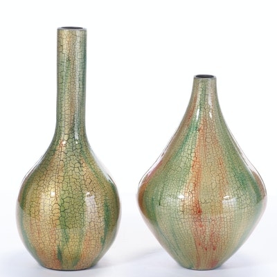 "Ceramic ""Spectra"" Vases with Crackle Finish"