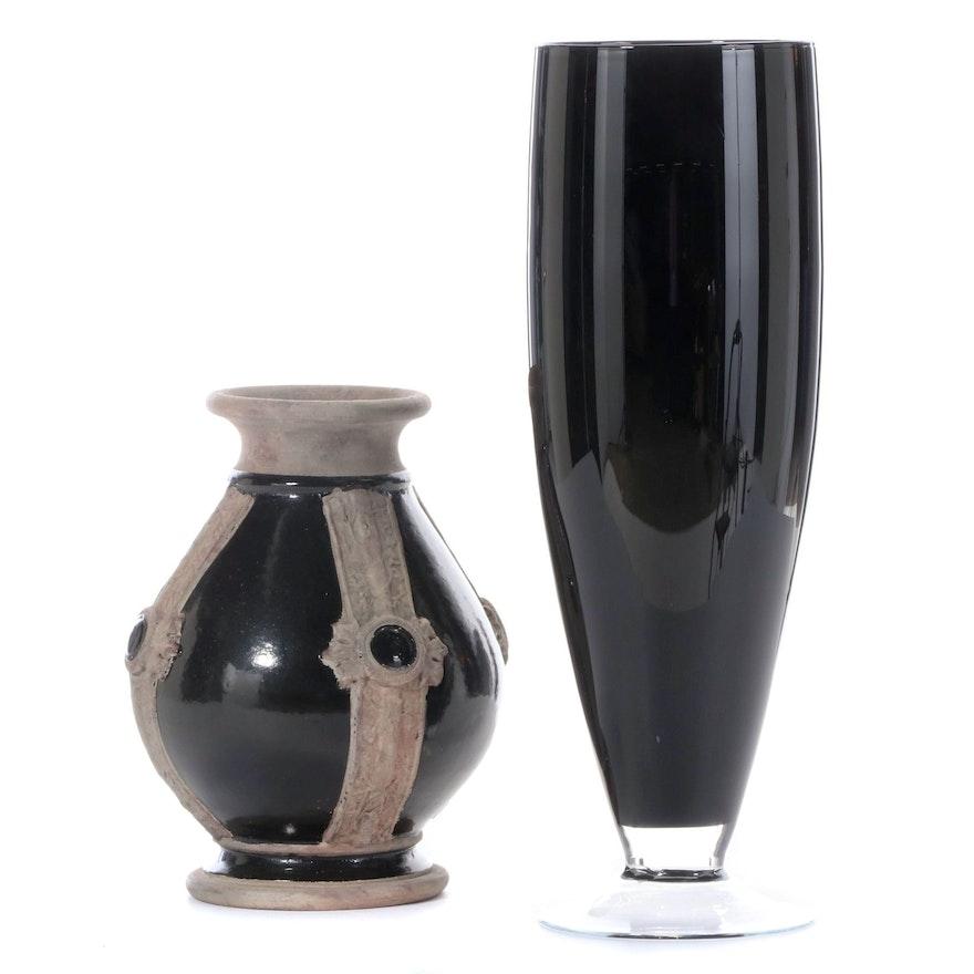 IMAX Ceramic Black and Brown Vase with Black Glass Vase