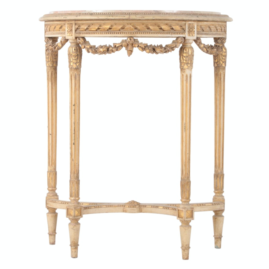 Louis XVI Rose Marble Top and Carved Giltwood Demilune Console Table