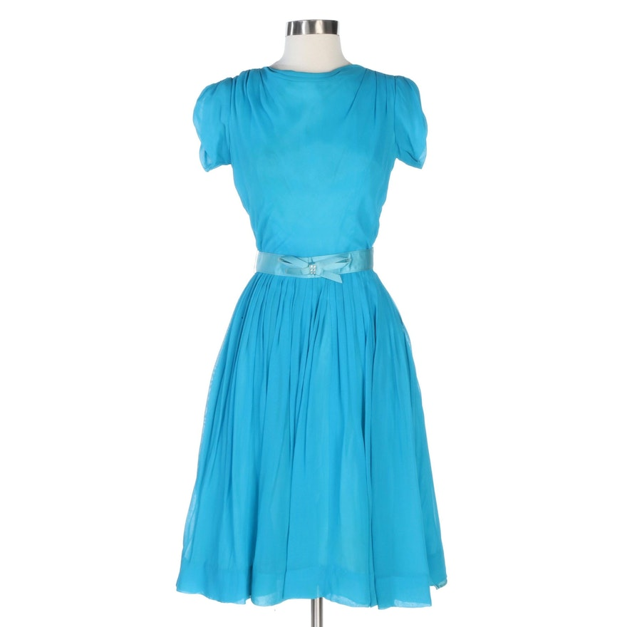 Pleated A-Line Dress with Bow Belt in Blue Crepe Chiffon, Mid-20th Century