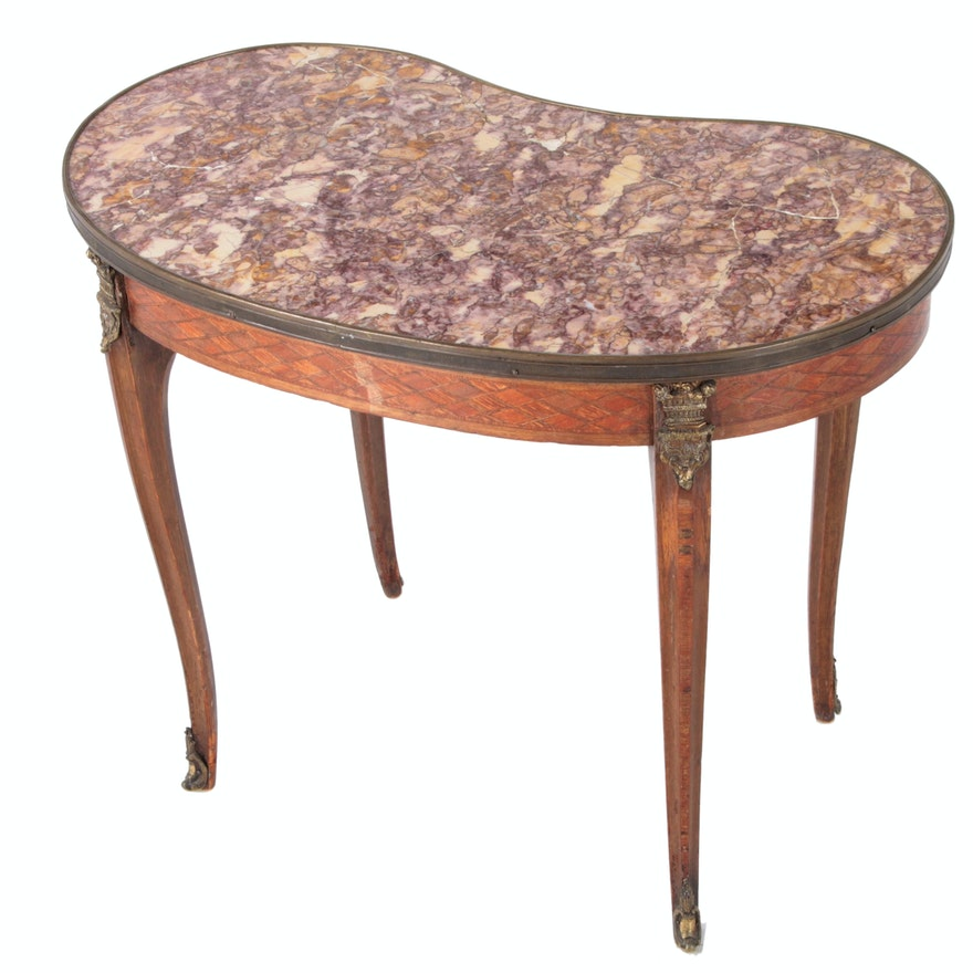 Louis XV Style Tulipwood, Gilt Metal-Mounted and Marble Top Table