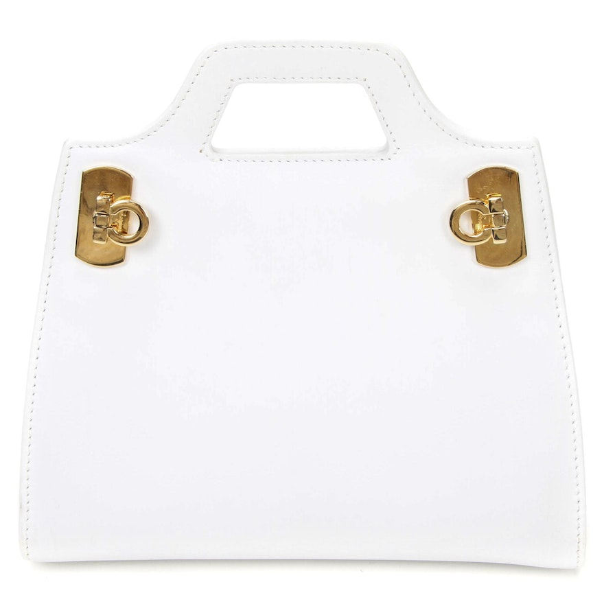 Salvatore Ferragamo White Leather Mini Bag