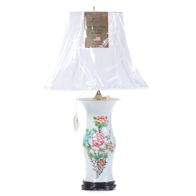 Antique Chinese Vase Converted into Lamp, with Canterbury Silk Shade