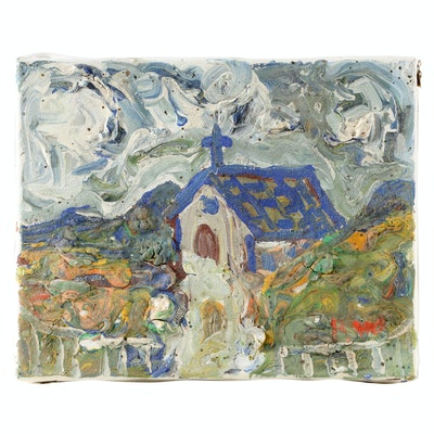 Robert Wright Folk Art Impasto Oil Painting of Church