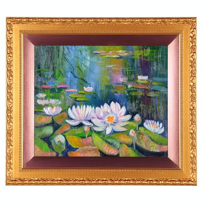 "Thea Mamukelashvili Oil Painting ""Waterlilies"", 2020"