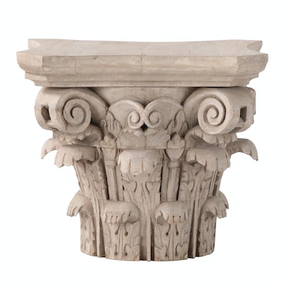 Mold Cast Grecian Corinthian Column Capital Decor Accent, 21st Century