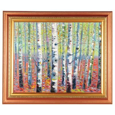 "Thea Mamukelashvili Oil Painting ""Birch Trees"", 2020"