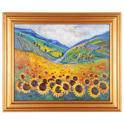 "Thea Mamukelashvili Acrylic Painting ""Sunflower Field"", 2020"